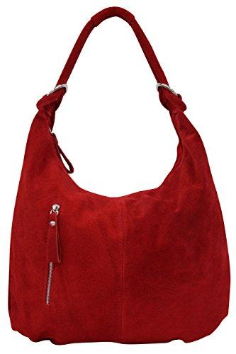 AMBRA Moda Damen Wildleder Schultertasch Damen Handtasche Hobo-Bags Shopper Beuteltaschen Veloursleder Suede Ledertasche DIN-A4 42cm x 35cmx 4cm WL803 (Rot groß)