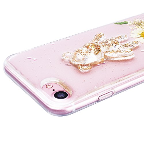 WE LOVE CASE iPhone 7 Plus Cover Fiore Vero e Orso Trasparente Glitter iPhone 7 Plus 5,5 Custodia Verde Case Silicone Soft Flessibile Elegant Belle Protettiva , Antiurto Ultraslim Bumper , TPU Gel Go white
