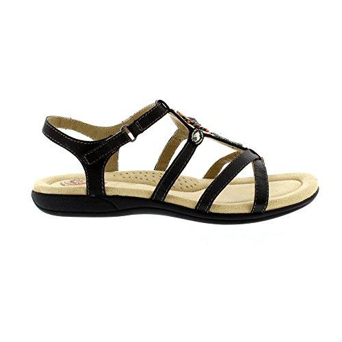 372b1c3568dc9 Earth Spirit Cape Coral Ladies Touch Fasten Strappy Sandals Black UK ...