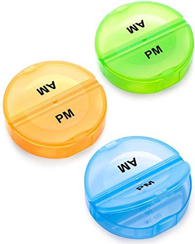 3 Stück Tablettenbox Pillendose Klein 2 Fächer für Unterwegs, Passen Fast In Jede Tasche Hosentasche - Blau Gelb Grün