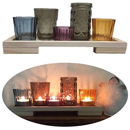 elicht-Halter-Set Kerzen-Tablett 28cm 5 Windlicht- Gläser ()