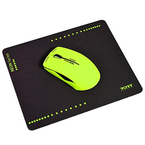 Port Connect Neon Funkmaus, 1200DPI, Pad, neon gelb