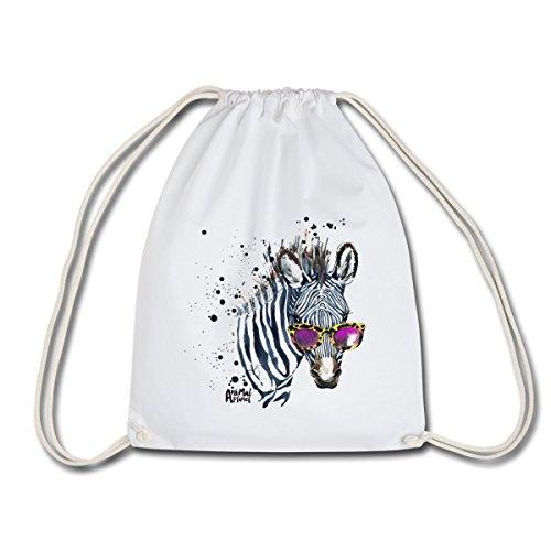 Spreadshirt Animal Planet Hipster Zebra Mit Sonnenbrille Turnbeutel, Weiß