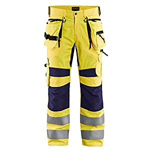 High Vis C48 – Pantalón de trabajo (elástico), color amarillo y azul marino