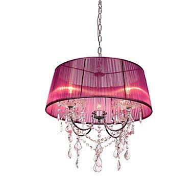 lustre-en-cristal-4-light-pays-creative-metal-tissu-argent