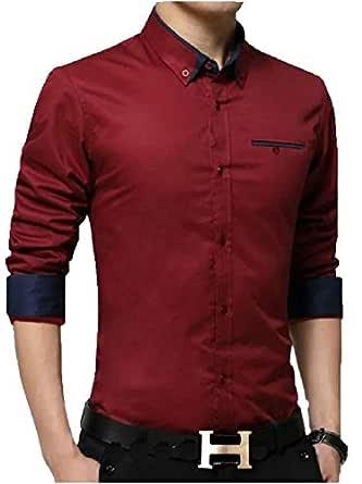 pearl ocean Men's Casual Design Full Sleeve Shirt (Red, 38)