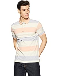 Peter England Men's Striped Slim Fit Polo