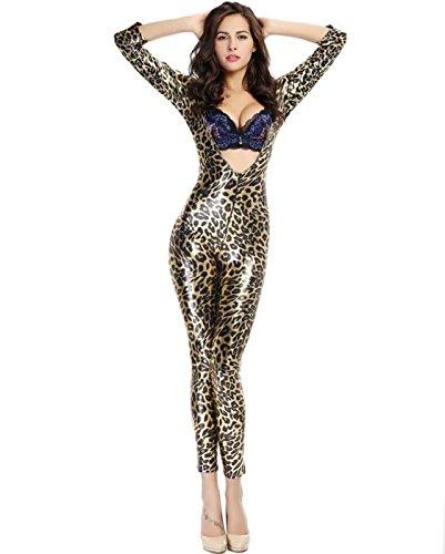 DuuoZy Damen Sexy Leder Leopard Overalls Catsuit Cosplay Kostüm Club Wear , f , leopard ()