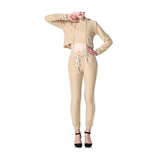 Femme Sweat-shirt à Capuche + Pantalon Manche Longue Ensemble Veste de Sport Survêtement Slim Fitness Yoga abricot