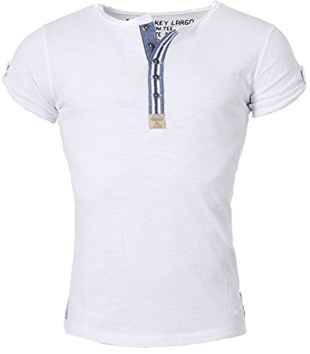 Key Largo Herren T-Shirt Arena mit Knopfleiste Henley Vintage Used Look Optik button border slimfit MT00023 , Grösse:M;Farbe:Weiß (T-shirt Button-dunkle)