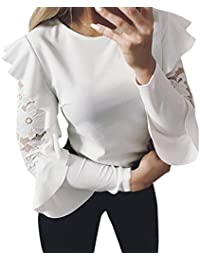 71c988e7ab393 Amlaiworld ❤️Blouse Femme, Manches Longues Solides Chemisier Couture de  Lacet Tops Pull T-