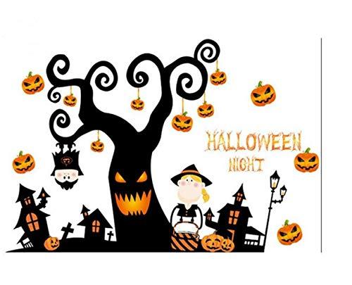 QTXINGMU Halloween Tree House Kürbis Light Wall Sticker Aufkleber