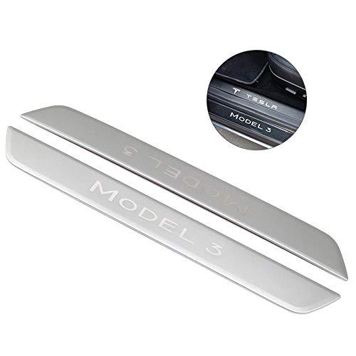lesgos Einstiegsleisten Für Tesla Model 3, Carbon/Edelstahl Kratzfest Vordertürkantenschutz Für Tesla Model 3, Einstiegsleisten Dekoration (2 Sets)