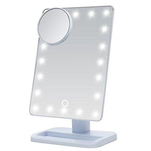 Cadrim Kosmetikspiegel LED Schminkspiegel Dimmbar Drehbar LED Beleuchtung Make-up Schminktisch Spiegel 10x Lupe Weiß