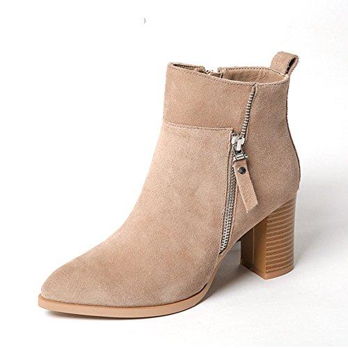 Mode bottines/ printemps femme Bottes/Botte de haut talon en cuir/ femme à pointe Martin bottes/ femmes bottillons épais A