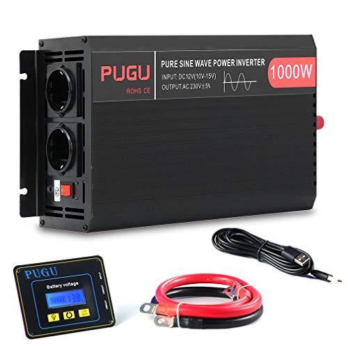 Wechselrichter Reiner Sinus 1500W/3000W Watt 12v auf 230v Auto Wechselrichter Umwandler Spannungswandler mit 3 Meter Fernbedienung und Kabel (1000W/2000W)
