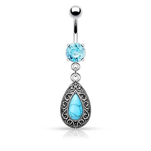 Aqua cristallo Grande pietra del turchese vintage strappo del ventre goccia Charm Bar Piercing Spessore: 1.6mm Lunghezza: 10mm Materiale: acciaio chirurgico