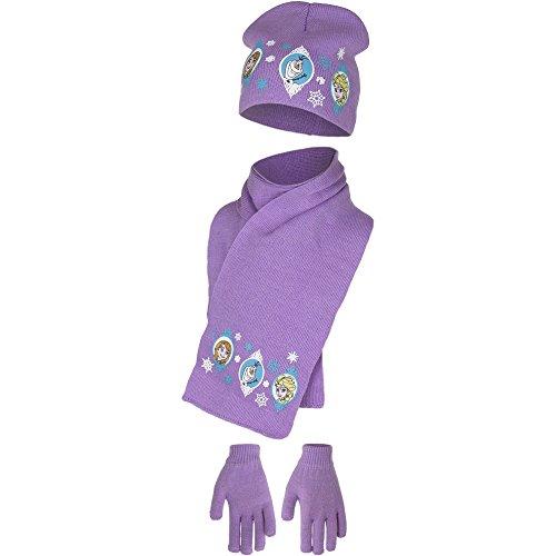 Disney Frozen Mütze mit Handschuhen und Schal im Set (52, Lila)