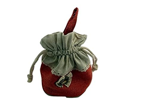 ZakkaDesign Drawstring square Base accessories pouch bag with hand strap - Red