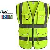"""JKSafety 9 poches de classe 2 """"gilet de sécurité haute visibilité devant avec des bandes réfléchissantes, jaune répond aux normes EN ISO 20471 - Unisexe(X-Large)"""