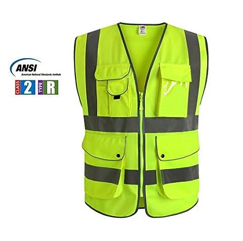 JKSafety Neun Taschen Unisex Hohe Sichtbarkeit Warnweste Reflektierende Weste Reißverschluss EN ISO 20471 (Large)