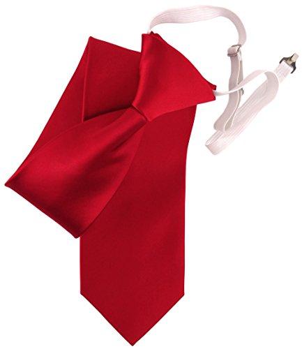 TigerTie Security Satin Seidenkrawatte rot verkehrsrot uni Gummizug - Krawatte Seide