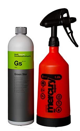 HEWADI® Set Pflege Set Koch Chemie Green Star und Kwazar Mercury Sprühflasche 360 Grad 1,0 Liter