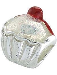 "Cupcake Scintillante-ARGENT 925/1000-""Charms Perles Style Pandora"
