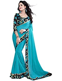 V-Art Women's Faux Georgette Saree With Blouse Piece (Bsdh001Blue,Blue,Free Size)