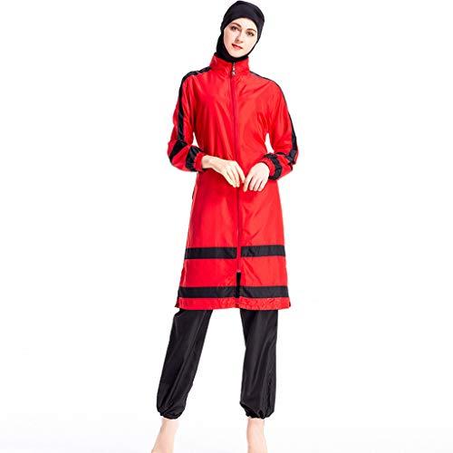 Lazzboy Frauen Muslimischen Badeanzug Mit Kappe Volltonfarbe Beachwear Bademode Zurückhaltenden Swimwear Hijab Abnehmbarer, Voller Länge Burkini(Rot,XL) (Stecker Steckdose-kostüm Und)