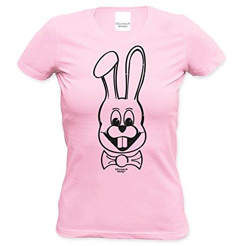 Hase : Damen T-Shirt : Geschenk für Frauen : Tolle Geschenkidee zu Ostern Ostergeschenk mit lustigem Fun Motiv Farbe: rosa Rosa