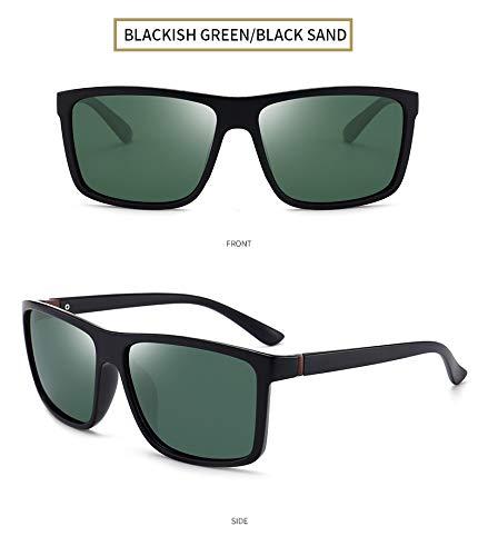 LKVNHP Square Herren Sonnenbrillen Markendesigner Luxury Fashion Polarized Vintage Herren Brille Uv400Schwarz-Schwärzlich Grün