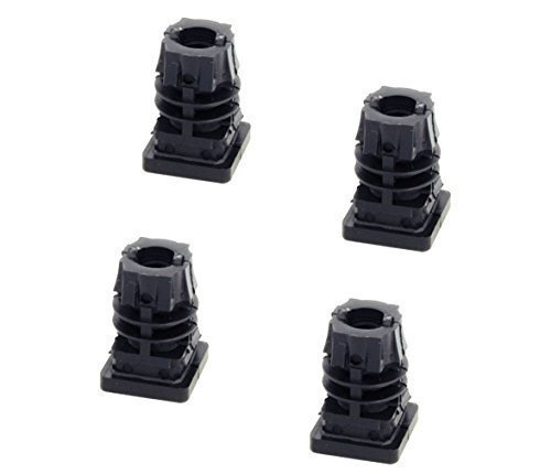 GedoTec Fußkappen Möbelgleiter mit Innen-Gewinde M10 schwarz aus Kunststoff für Vierkantrohr | Formrohr-Stopfen quadratisch | Lamellenstopfen 30 x 30 mm | Markenqualität für Ihren...