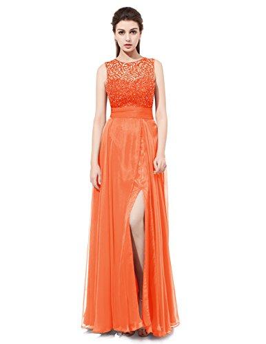 Dresstells Robe de cérémonie Robe de bal forme empire emperlée longueur ras du sol Orange