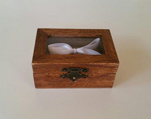 Ring Träger Box Hochzeit Verlobung Ring Box personalisierte Hochzeit Ring Box Träger Ringkissen rustikale Ehering Halter Kissen Träger Box Rolle in Sackleinen und weiße