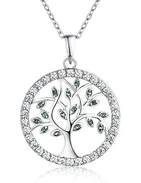 YL Halskette Baum Des Lebens-925 Sterlingsilber Simulierter Smaragd und Zirkonia Halskette Familienstammbaum mit...