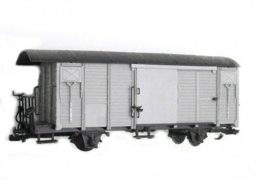 Train Gedeckter Güterwagen, RHB Gbk-v, hellgrau, Spur G, Edelsta