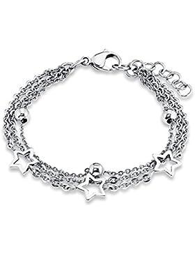 s.Oliver Kinder-Armband Teenager Mädchen 16+2 cm verstellbar mit Stern-Anhängern Edelstahl glänzend