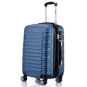 BEIBYE Zwillingsrollen Reisekoffer Koffer Trolleys Hartschale in XL-L-M in 14 Farben (Blau, M)