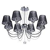 MW-Light 684010408 Kronleuchter Modern 8 Flammig Chrom Grau Organza Kristall