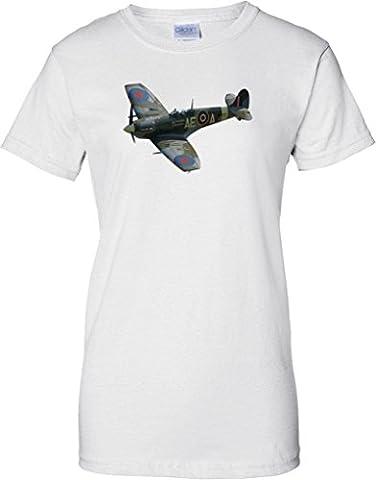 Spitfire Pop Art Design - WW2 Classic Fighter Airplane - Ladies T Shirt - White - 16