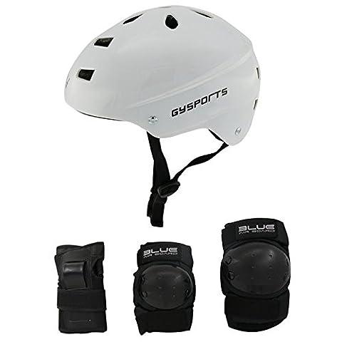GY Sports outdoor beschützer skateboard helm auf rollschuhen helm mit schutz (White, M)