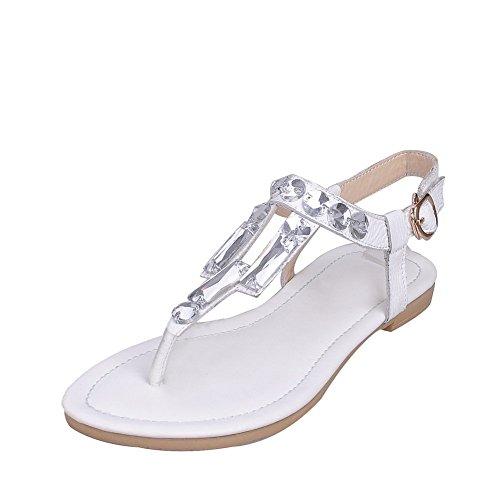 BalaMasa Toepost Stil Glas-Diamant Weiches Material Damen Sandalen, Weiß - weiß - Größe: 39 1/3