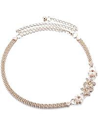 LUOEM Cintura da Donna Regolabile Catene da Pancia con Fiore di Cristallo  (Oro) 2a91b5dc52b