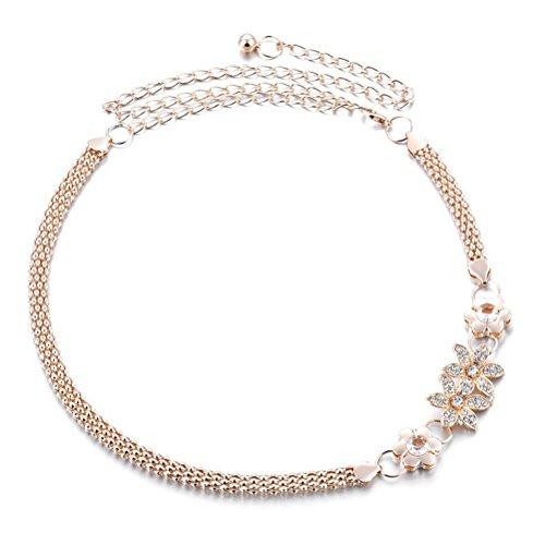 UEETEK Las mujeres de moda cinturón cadena delgado flor Metal decoración cinturón para vestido Falda blusa traje