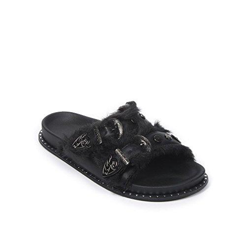 Ideal Shoes Mules en Similicuir à Double Boucles Fourrées Layla Noir