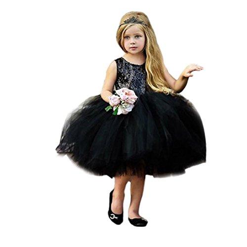 Riou Kleid Baby Mädchen Pailletten Elegant Festlich Kleide Prinzessin Party Kleider Outfits Sommerkleid Ärmellos Cute Mini Tutu Kleid (3T, Schwarz)
