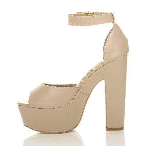 Donna tacco alto scarpe punta aperta sandali piattaforma festa elegante taglia Ecrù opaco