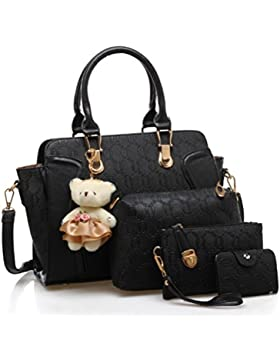 Longlove 4 Set Bag Frauen Clutch Bag Kunstleder Schulter Crossbody Handtasche Handtaschen