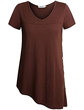 Anna Smith Camiseta de Manga Corta con Cuello en V, Mujer, Lateral Camiseta asimétrica, Dobladillo asimétrico